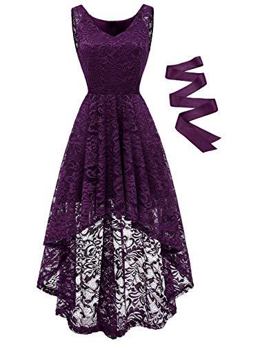 BeryLove Damen Spitzen Vokuhila Cocktailkleid V Ausschnitt Ärmellos Elegant Brautjungfernkleid Partykleid BLP7018GrapeM