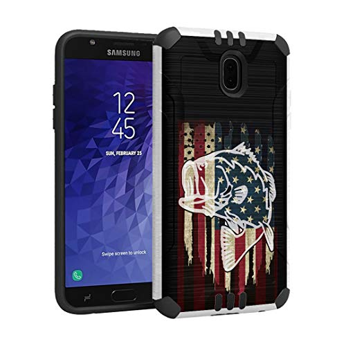OYU Case Compatible with Galaxy J3 2018/Express Prime 3/J3 Achieve/J3 Star/Amp Prime 3/J3 V/J3 Orbit [Cute Slim Armor White Case] for Samsung Galaxy J3 All Carriers (Fishing USA Bass)