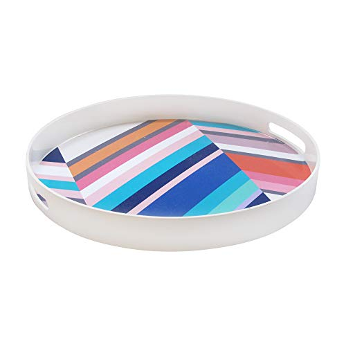 """Trina Turk Round Serving Tray- Indoor & Outdoor Platter for Home Entertaining, Cocktail Hour, Snacks, Decorative Display for Jewelry, Candles, Barware, & Perfume, 15"""", Chevron"""