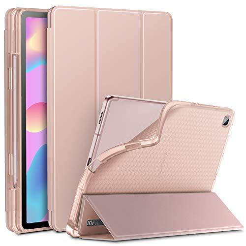 INFILAND Hülle für Galaxy Tab S6 Lite mit S Pen Halter, Superleicht Transluzent TPU Schutzhülle mit Auto Schlaf/Wach Funktion für Samsung Galaxy Tab S6 Lite 10.4 P615/P610,Rosa Goldene