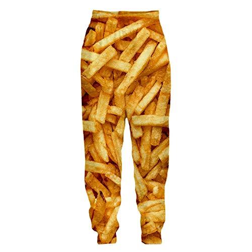 Surwin Homme/Femme Impression Nourriture 3D Joggers Pants, Unisexe Imprimé Sport Pantalon de Jogging Funny Pantalons de Survêtement Sweatpants pour Décontractés Fitness (Frites 5,M)
