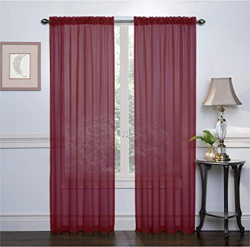 Ruthy's Textile 2 Pack Sheer Voile Window Treatment Rod Pocket Curtain Panels for Bedroom and Living Room 54 x 84 inches Long - Color: Burgundy