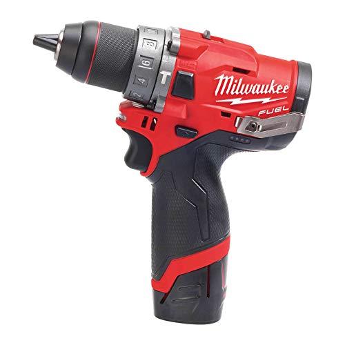 Milwaukee Taladro percutor Milwauke Fuel M12 FPD-202X – 2 baterías 12 V 2.0 Ah – 1 Cargador C12C 4933459802, Black-Red
