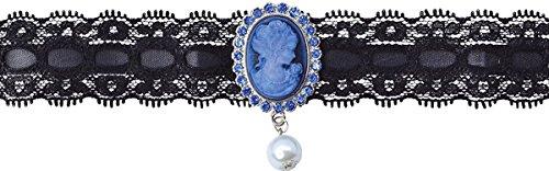 Halloween Vampir Kostüm Party Portrait Vintage Halskette Perle Anhänger Gemme UK