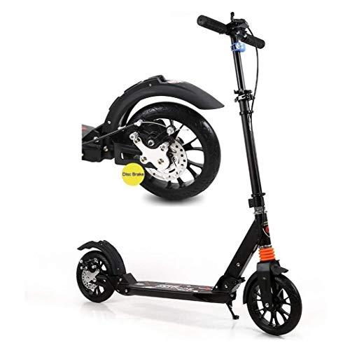 WJJ Patinetes Para Niños Montar portátil al aire libre kick scooter-ruedas grandes for adultos scooters con frenos de disco en la mano, de doble suspensión plegable del viajero Vespa, de altura ajusta