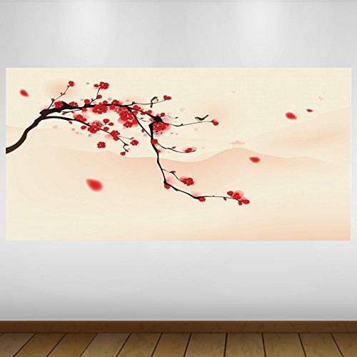 LagunaProject Extra Grande Red árbol de Cerezo de Japón Vinilo Póster - Mural Decoración - Etiqueta de la Pared -140cm x 70cm