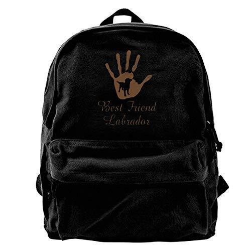 Best Friend Labrador in Palm Canvas Backpack School Laptop Bag for Women & Men Travel Bookbag