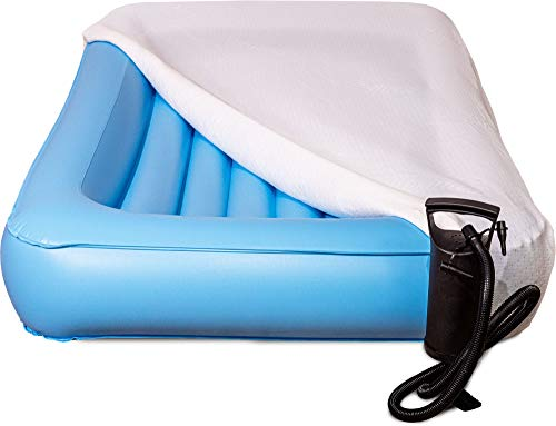 Air Mattress Toddler Inflatable Travel Bed with Safety Rail, Free Pump and Bed Sheet   Fits Children who Sleep in a Standard Crib