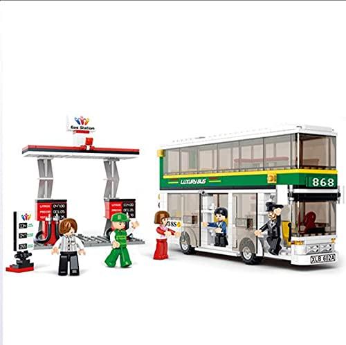 juguetes de bloques de madera Bloques de construcción for niños, Bloques de modelo de bus de doble pote, 1 gasolinera, juguetes de ensamblaje Inserción de bloques, Juguetes educativos, Rompecabezas 3