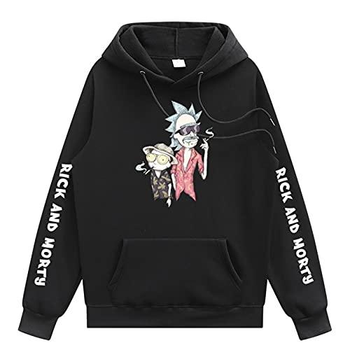 Impresión 3D Rick y Morty Hoodie Moda casual de moda Hip Hop Sudadera con capucha Tops El mejor regalo para Boy Girl,Negro,S