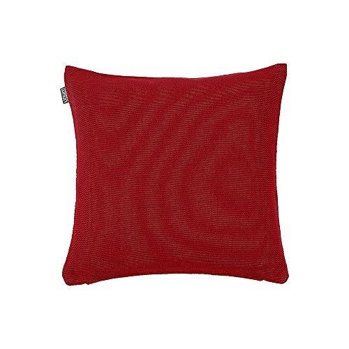 LINUM Kissenhülle PEPPER D90 dunkelrot 50cm x 50cm Canvasgewebe, 100% Baumwolle, Kissenbezug, Wohntextilien