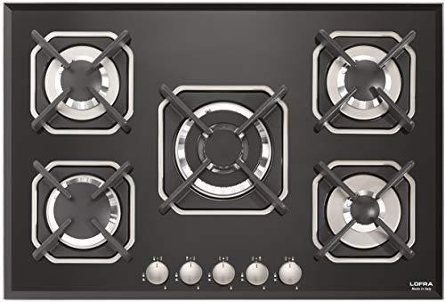LOFRA - Cocina de gas de 75 cm, vitrocerámica de cristal, placa de gas, 3,7 kW, quemador WOK, hornillo de gas, placa de cocción empotrable, cristal negro, biselado, placa de montaje