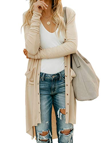 GOSOPIN Womens Fall Lightweight Wool Ribbed Chunky Button Down Cardigan with Pockets Open Front V-Neck Knitwear Cozy Outerwear Sweater Jumpers Tops Beige UK 10