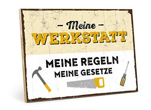 TypTyg träskylt med text – Min verkstad, mina regler, Mitt pris – i vintage-look med citat som present och dekoration för hemmafixer, garage och hoppy M - 19,5 x 28,2 cm BRUN