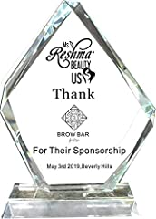 """Made of K9 crystal glass , Brilliant shine on this CRYSTAL AWARD Approx 7""""X10""""X0.8"""" PERFECT FOR anything ex. employee of the year awards, work anniversary awards, or employee recognition for top achievers. if want any logo on the award please E mail ..."""