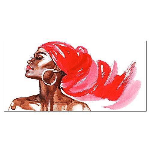 NFXOC Lienzo de Pintura, Carteles e Impresiones, Imagen, Arte de Pared, Rosa Africano, Mujer, Moda, salón de Arte, giclée, Arte, decoración, Pintura (50x100cm) sin Marco
