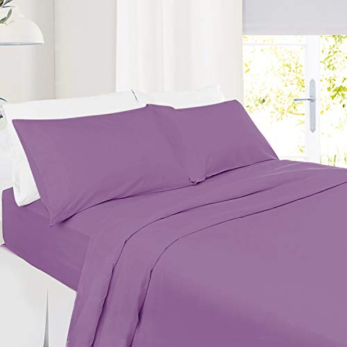 King Size Sheets – 4 Piece King Bed Sheet Set - Hotel Bed Sheets - Soft Microfiber Sheets - Easy Fit 8' to 14' Deep Pocket Fitted Sheets - 4 PC Sheets King Sheets - Dusty Lavender Dream