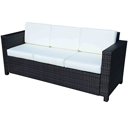 Outsunny 3 Seater Rattan Sofa All-Weather Wicker Weave Metal Frame Chair with Fire Resistant Cushion - Mixed Brown