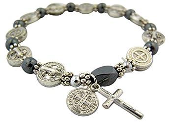 CB Silver Tone Saint Benedict Medal Hematite Bead Rosary Bracelet 7 1/2 Inch