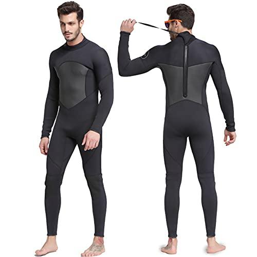 POOPFIY Hombres 3mm Neopreno Traje de Neopreno Alta Elasticidad Costura cálido Surf Buceo, Nadando, Surfing Watersports al Aire Libre,Negro,XXL