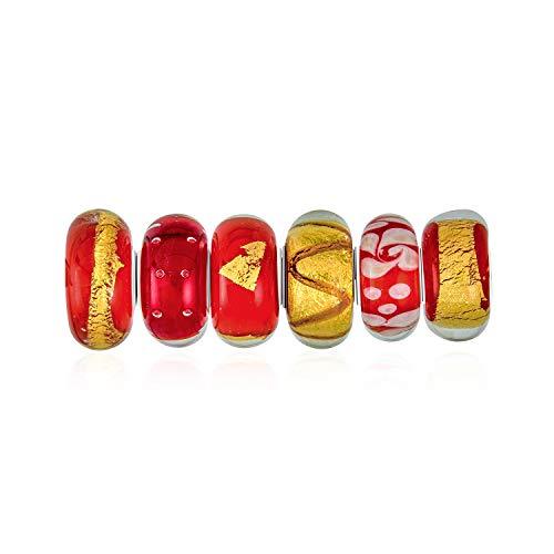Bling Jewelry Naranja Oro Rojo Mezcla Cristal Murano con Lámina Plata Esterlina...