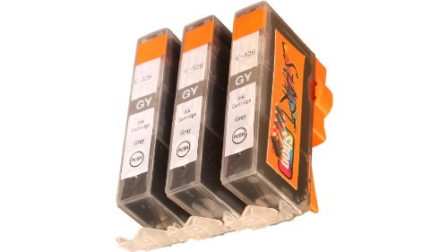 Start - 3 Ersatz Tintenpatronen kompatibel zu CLI-526 Grau für Canon Pixma iX6550, MG6150, MG6250, MG8150, MG8240, MG8250