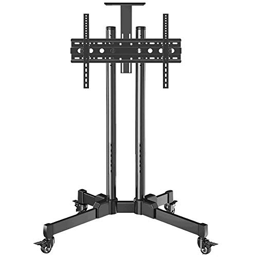 dehong Stainless Steel Gaming TV Floor Stand for 32—70 Inches TVs,Black TV Floor Cabinet on Wheels Castors Up to 90KG Tilting Height Adjustable,Max VESA 600x400mm