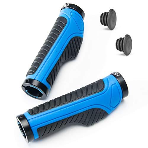 ROCKBROS Manopole per Manubrio di Bici 22mm in Gomma Antiscivolo Design Ergonomico con Anelli di Bloccaggio in Alluminio Tappi per Bici MTB Bici Pieghevole (Blu)