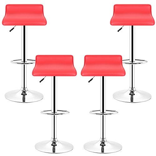POPSPARK Tabouret de Bar Lot de 4 Design en Cuir Simili et métal chromé, tabourets réglable - Rouge