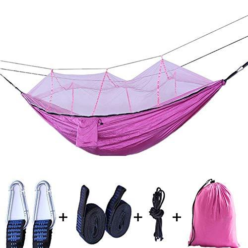 Camping hangmat Outdoor Klamboe Parachute Hangmat Ultralight Nylon Double Courtyard Travel Camping Lucht Tent Travel camping hangmat (Kleur: Roze, Maat: 260x140cm) (Color : Pink, Size : 260x140cm)