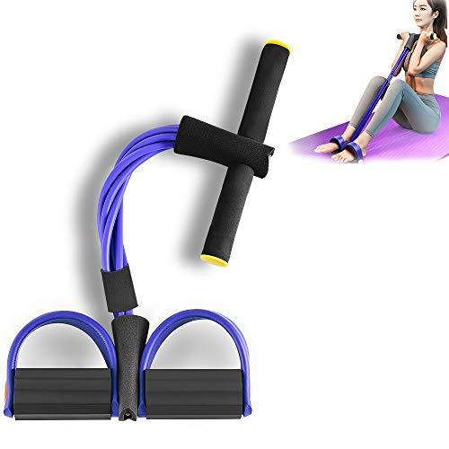 GANZTON Sit-Up Trainingsgeräte Sit-up Bodybuilding Expander Widerstandsband Puller Zugseil Pedal Sit-up Assistent Gym Equipment Beintrainer Bauchtrainer mit 4 Tuben für Yoga Fitness Blau