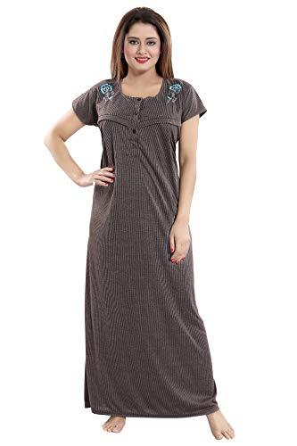 Fabme Women's Maternity Night Dress (NW080_Chocolate_Free Size)