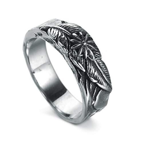 Adisaer Titan Ring Für Männer Ring Silber Herren Feder 8mm Breit Edelstahl Bandring Silber Schwarz Ring Gr. 67 (21.3)