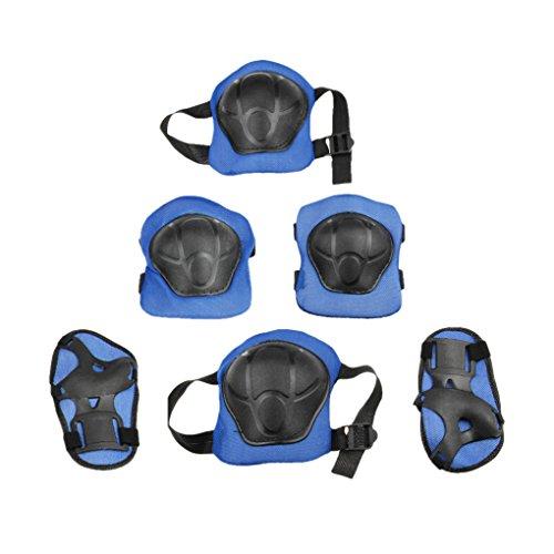 Genouillère Roulette Genouillères Skateboard Kneepad Roller Kit de Protections 6 pièces Coudière Poignet Protège Enfantin Genou, Coude et Mains pour Garçons Filles-Bleu