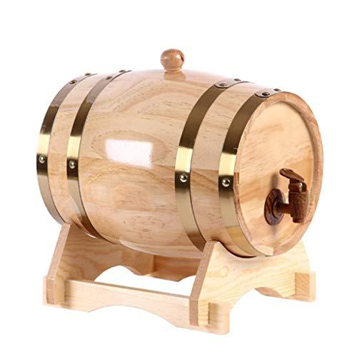 SKSNB Barril de Vino de Madera, 3 L/5 L/10 L/15 L/20L/30L/50 L Barril de Roble para Almacenamiento de Vino y Licor (Tamaño: 5L)