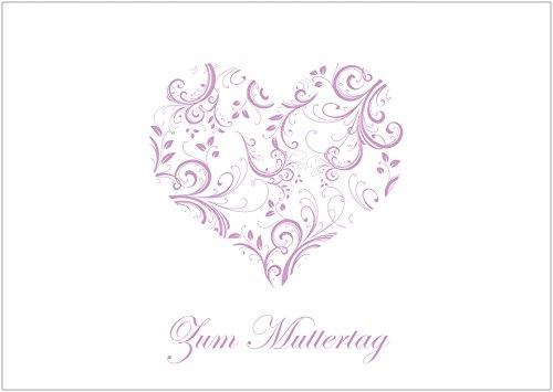Muttertagskarte Glückwunschkarte Klappgrusskarte mit floralem Herz in zartem Lila Text: Zum Muttertag (Mit Umschlag) (1)