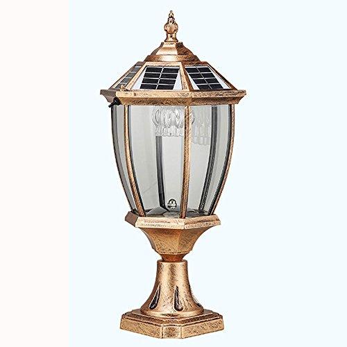 Mmhot-bd Lámpara De Columna Lámpara Solar Al Aire Libre Impermeable Patio LED Lámpara De Pared Terraza De La Pared (2 Colores Se Pueden Cambiar Libremente, con Fuente De Luz LED) (Color : Bronze)