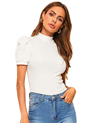 Floerns Women's Solid Tee Mock Neck Short Puff Sleeve Tops Blouse A White L
