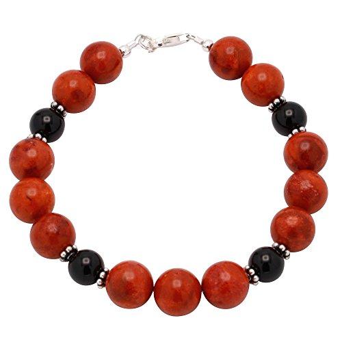 Bracciale in corallo & Onyx & {} argento nero rosso bracciale catena bracciale gioielli