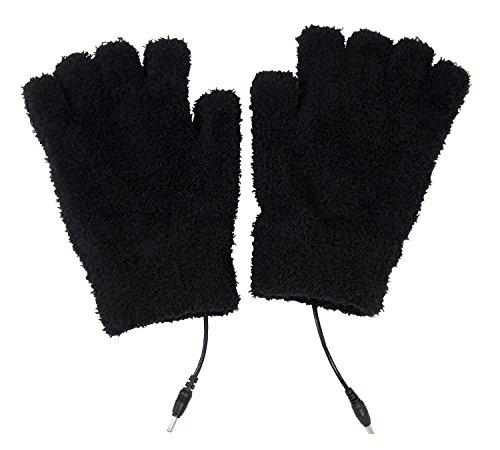 ObboMed MH-1000 Wärmende Handschuhe aus Fernen Infrarot-Kohlefaser, Halbfinger, USB 5V 6W - Laptop, IPhone, Power Bank, PC, Wellenlänge 8-15 μm (Gesunder Bereich: 4-14 μm); Schwarz - 21 x 12 cm