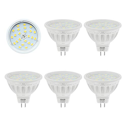 Bombillas MR16 LED Gu5.3 Reflector,Equivalente 50W Blanco Natural 4000K 600LM RA85,No Regulable AC/DC 12V,5 Piezas.