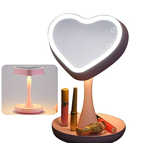 LED-Kosmetikspiegel, Schminkspiegel, Arbeitsplatte Kosmetikspiegel LED beleuchtet mit Lichtern USB-betriebener tragbarer Kosmetikspiegel mit Touch-Control-Lichtpaneel 1x / 3x Vergrößerung mit Schreib