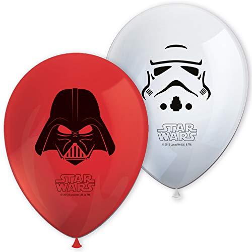Procos 84165 - Luftballons Star Wars Final Battle, 8 Stück, Durchmesser 21 cm, bedruckt, rot, weiß, Latexballons, Geburtstag, Dekoration