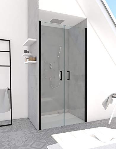 MARWELL Saloon 90 x 200 cm in schwarz - stylische Design Glasdusche bestehend aus 2 Pendeltüren - 6 mm starkes Einscheibensicherheitsglas