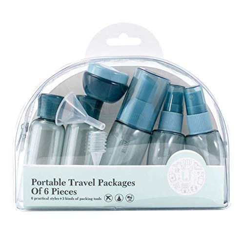 トラベルボトル 旅行ボトル 漏れ防止 小分けボトル TSA運輸保安局認可 化粧品 収納 携帯詰め替え容器 6点セット収納袋付きスカイブルー