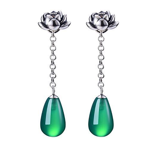 ✦Muttertagsgeschenk✦ Lotus Fun S925 Sterling Silber Damen Ohrringe Natürlicher Achat Lotus Wassertropfen Ohrhänger Tropfen Ohrringe, Handgemachte Schmuck Geschenke für Frauen. Altes Silber)