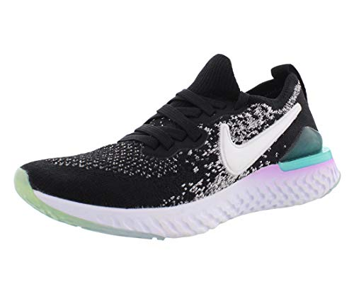 Nike Epic React Flyknit 2 Girls Shoes Size 5.5, Color: Black/White/Bleached Coral