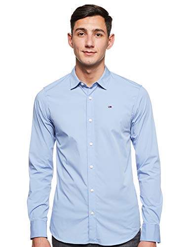 Tommy Jeans Hombre Original Stretch Camisa Manga Larga Slim Fit Azul (Lavender Lustre 556) X-Large