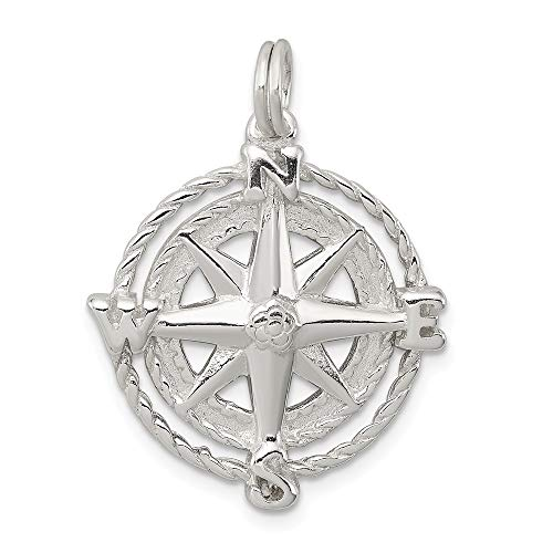 JewelryWeb 925 Sterling Silver Compass Charm Pendant Necklace (20mm)