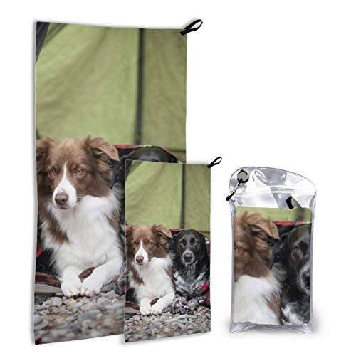AIKENING Two Dogs in A Tent 2 Pack Microfiber Beach Towel Baby Beach Towel Lightweight Set Fast Drying Best for Gym Travel Backpacking Yoga Fitnes